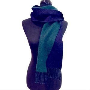 Burberrys Vintage Scarf Navy And Green Fringed Cashmere Wool Blend
